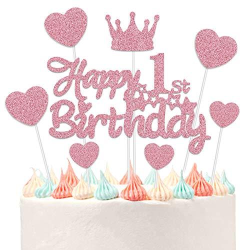 VAINECHEY Decoraciones Pasteles Topper Pastel Decoracions Cumpleaños Happy Birthady Cupcake Toppers Magdalena Tarta Cumpleaños Niños Niñas Rose 1 Año