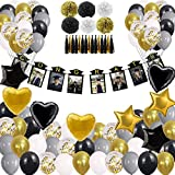 2021 Graduation Party Decoration Supplies, Black Gold Banners Balloons Photo Frame Adults Kids High School College Preschool Kindergarten Junior Class
