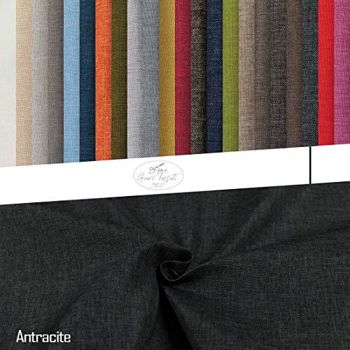 Generico Tessuto Idrorepellente al Mezzo Metro - Stoffa ANTIMACCHIA in Poliestere - Sabri Canvas - Morbido e Resistente - Altezza 140 cm - 1 QTA = 50 cm - 22 Colori (Antracite 31)