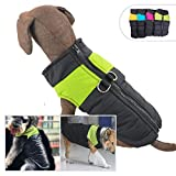 Lovelonglong Dog Winter Coat Warm Down Jacket, Windproof Dog Jackets Puffer Vest with Zipper and Leash Ring for Large Medium Small Dogs,Extra Protection for Outdoor Cold Weather Green M