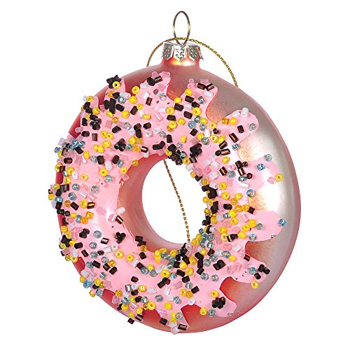 Norproway Glass Christmas Ornament Hand-Made Doughnut Pink