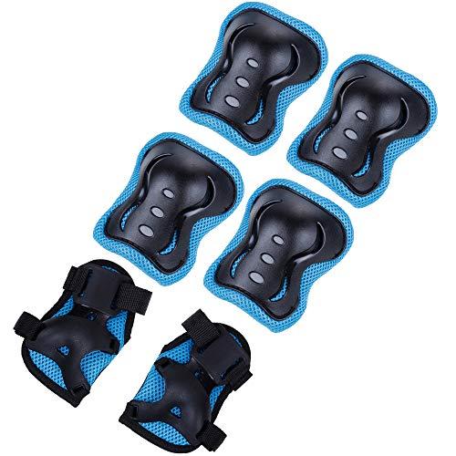 Zacro schutzausrüstung Set Kinder Knieschoner Ellenbogenschoner Handgelenkschoner Schutzausrüstungen Set für Skateboard Fahrradfahren Skateboard Reiten Outdoor Schwarz