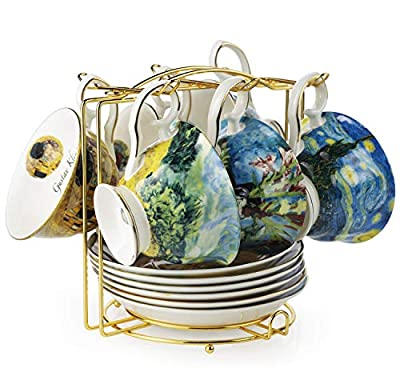 Van Gogh Bone China Set of 6 Cups and Saucers With Rack, Coffee Cup and Saucer Set With Gift Box, 8-Ounce Art Coffee Mugs Set