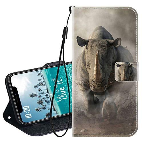 vingarshern Klapphüllen für LG X Mach Schutzhülle Mit Magnetverschluss Flip Etui Lederhülle Handytasche LG X Mach Hülle Klappbares Leder Brieftasche,Nashorn Muster