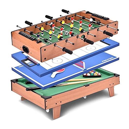 Piyu - Mesa multijuegos 4 en 1 de futbolín de aire para hockey Ping-Pong con accesorios de instalación, juego de mesa para adultos, regalo para niños