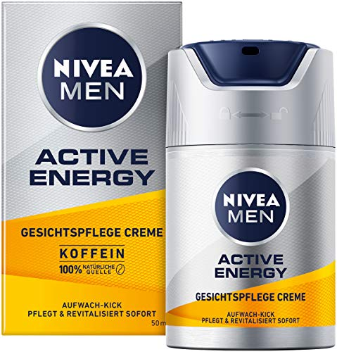 NIVEA MEN Active Energy Gesichtspflege Creme revitalisierende Gesichtscreme für Männer, schnell einziehende Feuchtigkeitscreme gegen Zeichen von Müdigkeit, 50ml