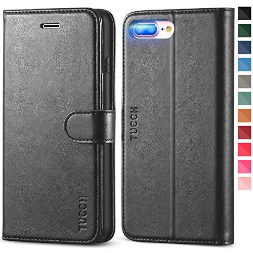 TUCCH iPhone 8 Plus Hülle, Stoßfeste Handyhülle [Verdicktes TPU] [Kartenfächer] [Standfunktion] [Magnetverschluss], Schutzhülle Klapphülle Case Etui Kompatibel für iPhone 7 Plus/8 Plus (5,5) Schwarz