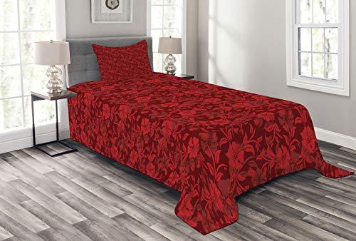 ABAKUHAUS rot Tagesdecke Set, Blumen Blätter & wirbelt, Set mit Kissenbezügen Sommerdecke, für Einzelbetten 170 x 220 cm, Bordeauxrot & Rot