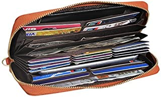 Easyoulife Women's Wallet Clutch Leather Card Wallet 20 Card Slots RFID Blocking