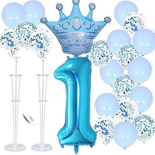 FACHY 1:a födelsedagen dekorationer pojke, grattis på 1:a födelsedagen ballonger krona digitalt nummer 1 folieballonger blå ballonger med ballongstavar fäste för baby pojke första födelsedag fest årsdag