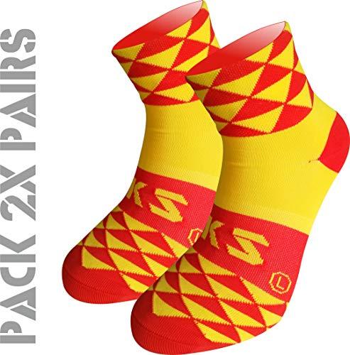 Pack 2 Pares Calcetines EKEKO TKS Prisma. Calcetin Técnico Deportivo, Ciclismo, Running, Tenis y Golf. (S(36-39)(UK 3.5-6), ESPAÑA)