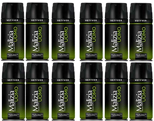 12x MALIZIA UOMO VETYVER deo spray deodorant vetiver Edt eau de toilette 150ml