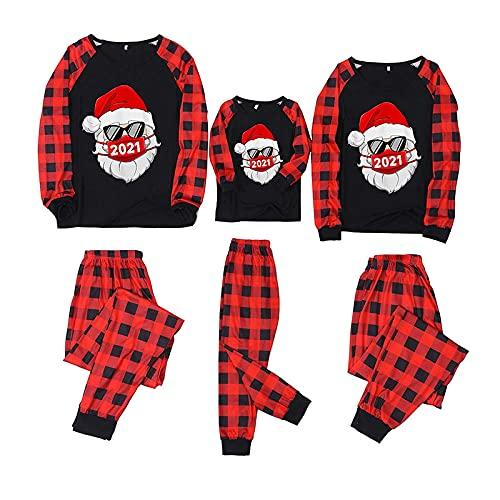 Matching Christmas Pjs for Family 2021 Xmas Red Plaid Print Tshirts Long Sleeve Sleepwear Crewneck Festival Holiday Xmas Set