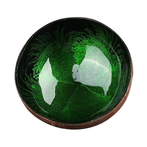SunYueY Cuenco de coco natural, hecho a mano, para guardar llaves, caramelos, alimentos, decoración del hogar, color verde