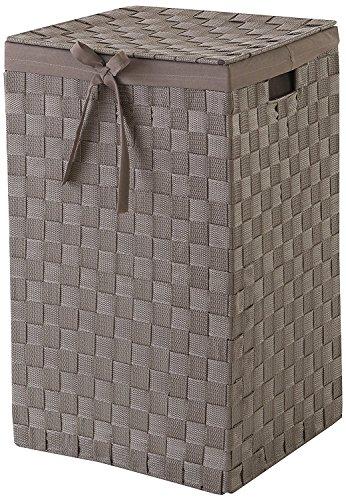 Compactor con espacio de almacenamiento 30 cm cinturón Tex rayón cesta para la ropa sucia con tapa y lino en el interior, marrón