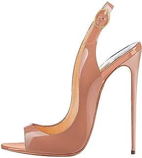 Soireelady - Scarpe da Donna - Sandali con Cinturino alla Caviglia - Peep Toe - 12CM Scarpe col Tacco