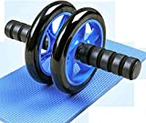 ZHENG Roller Addominali Rullo per Addominali para Ejercicio básico Doble Ruedas y Asas de Espuma Rodillo de Ejercicios Abdominales (Color : Blue, Talla : 155mm)