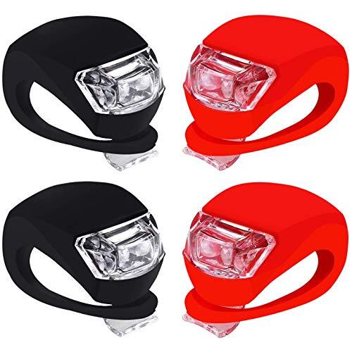Chizea 4 Packs LED Lampe Set, 2X LED Weißlicht & 2X LED Rotlicht Wasserdicht LED-Licht Licht mit Silikongehäuse für Outdoor, Kinderwagen, Roller