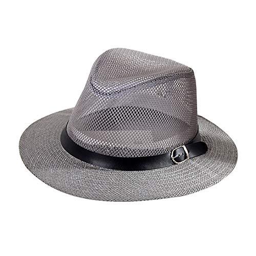 Kentop Panamahut Fedora Sombrero de Paja para Hombre, Color Gris, tamaño L