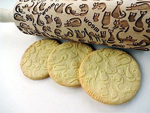 Meow CATS Embossing rolling pin. Wooden embossing rolling pin with cats. Gift for Cat lovers