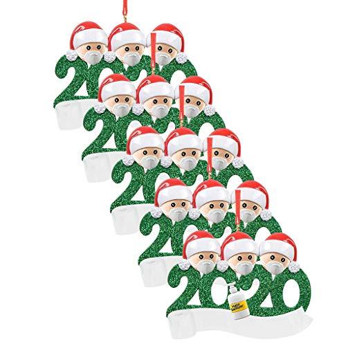 qiaoxiahe Weihnachtsferiendekoration Personalisierte Heimdekorationen Familie 2020 Besonderes Jahr Kleiner Mann mit Maske Anhänger für Christbaumschmuck an den Wänden an den Türverkleidungen der