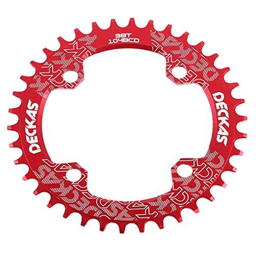 Plateau de rechange Grofitness pour pédalier simple de VTT - En aluminium - Forme ovale - Pièce de rechange pour vélo, Red, Oval 38T