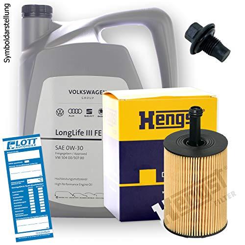 Ölwechsel Set Inspektion 5 Liter Original VAG Motoröl 0W-30 Motorenöl + HENGST Ölfilter + Öl Ablassschraube Verschlussschraube