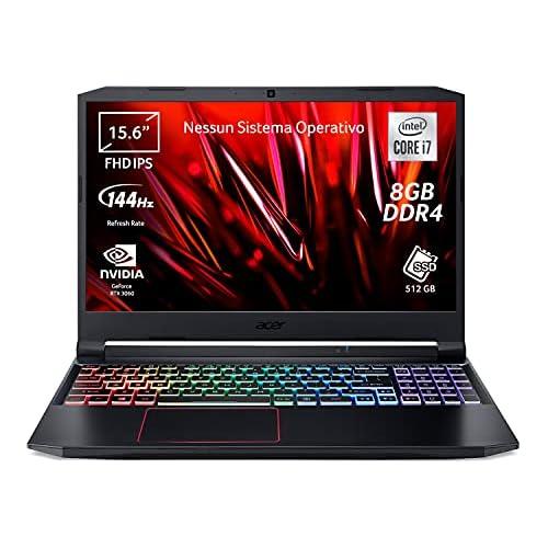 Acer Nitro 5 AN515-55-71UB PC Gaming Portatile, Processore Intel Core i7-10750H, Ram 8 GB DDR4, 512 GB SSD, Display 15.6