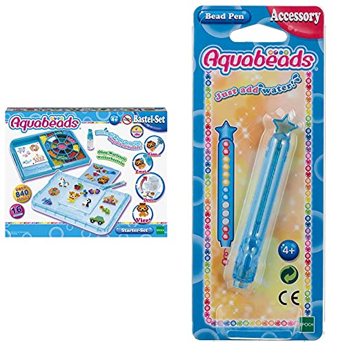 Aquabeads 31399 Starter Set Blau - Bastelset & 31338 Perlenstift