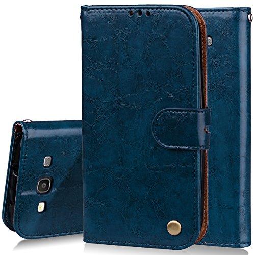MoEvn Cover per Samsung S3 Neo, Custodia Galaxy S3 Neo Pelle PU e Silicone Premium Luxury PU Leather Flip Wallet Case Supporto Porta Carte Chiusura Magnetica Portafoglio Protettivo Caso Blu