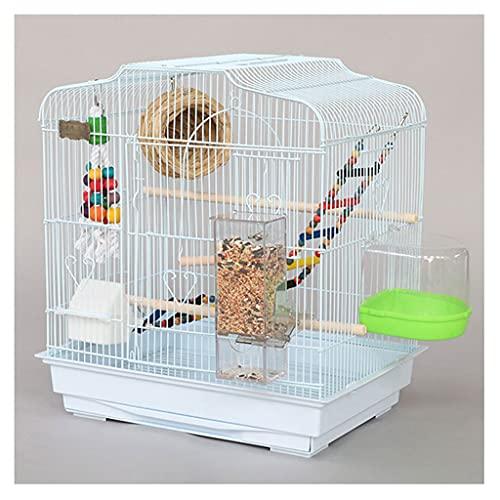YHshop Jaula de pájaros Parrot Jaula Villa de Lujo Cría de pájaros Metal Grande con cajones Adecuado para Aves Pequeños Loros y Palomas Jaula de Aves de Vuelo (Color : White)