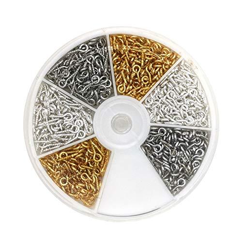BaiJ Augen Schraubösen,700er Pack Edelstahl Schraubhaken Mini Augenschrauben mit 2mm Loch Ösenstifte Metall Ösenschraube Ringschrauben für Heimwerker Heimprojekte Schmuckherstellung Silber Gold
