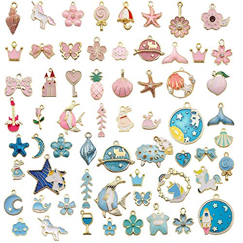KRUCE 60 PC Mixed Enamel Blue and Pink Theme Charms Pendants for Hot Fashion Charm Pendants for DIY Jewelry Accessories