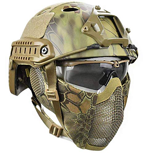 LIKEDA Airsoft Paintball Schutzhelm, Taktische Helme Mit Stahlgitter Maske CS Spiel Set 8 Farbe,D
