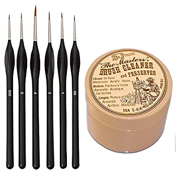 General Pencil Masters Brush Cleaner & Preserver and Pixiss Small Paint Miniature Brushes Fine Tip 6pc Paintbrushes Set for Model Craft Warhammer Airplane Kits Micro Detail Hobby Painting