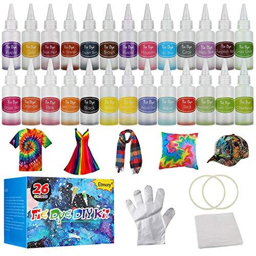 Etmury Tie Dye Kit, 26 Stück DIY Textilfarbe, ungiftig, Vibrant Krawattenfärbe-Set, mit 100 Stücke Gummi Band und 10 Paare Plastikhandschuhe