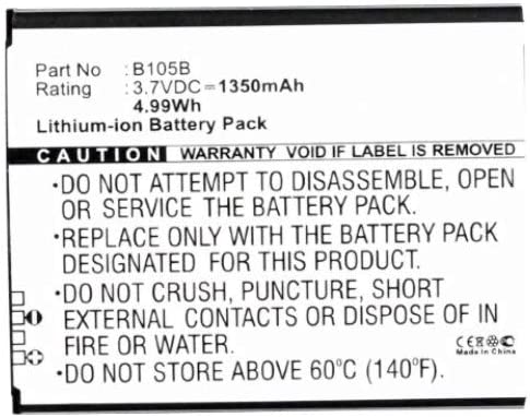 Synergy Digital Cell Phone Battery, Works with Samsung B105BU Cell Phone, (Li-ion, 3.7, 1350mAh) Ultra High Capacity, Compatible with Samsung B105BC, B105BE, B105BK, B105BU Battery