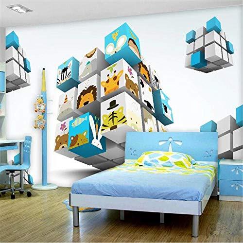 Sijoo Customized three-dimensional cube cartoon animal head portrait children's room, 3D mural, background wall wallpaper, wall covering