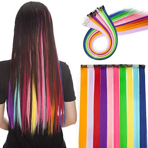 """20\""""(50 cm) Extensoines de Colores de Cabello Clip Pelo Sintético Se Ve Natural 10 PCS Mechas Fantasía para Niñas Muñecas Lisos Postizos de pelo #Arco Iris-1 (50cm,80g)"""