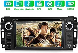 Car Stereo Radio with Bluetooth 6.2 Inch Touch Screen Multimedia Player with Mirror Link,Steering Wheel Control,CD,DVD,FM Radio Head Unit for Jeep Wrangler Grand Cherokee Dodge Ram 1500