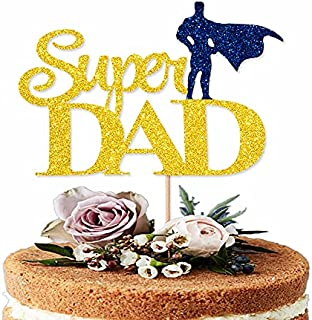 Happy Father's Day Cake Topper Best Dad Ever Super Dad Cake topper Blue Gold Glitter Cake topper Decorative Party Cake Dec...
