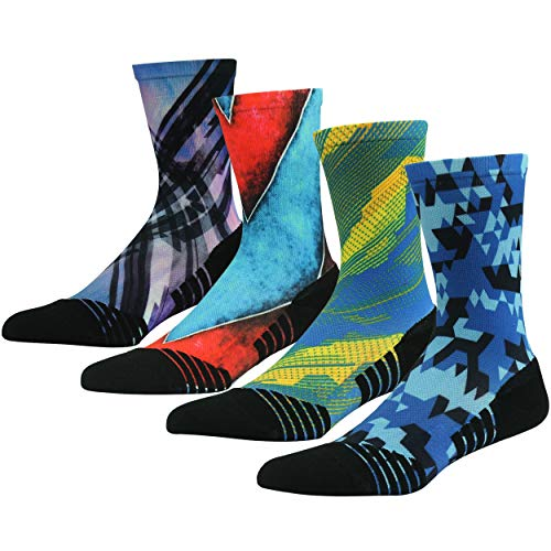 HUSO Cycling Socks, Men's Women's Cool Crazy Crew Mid Calf Novelty Outdoor Gym Mountain Bike Socks 4 Pairs(Multicolor, L/XL)
