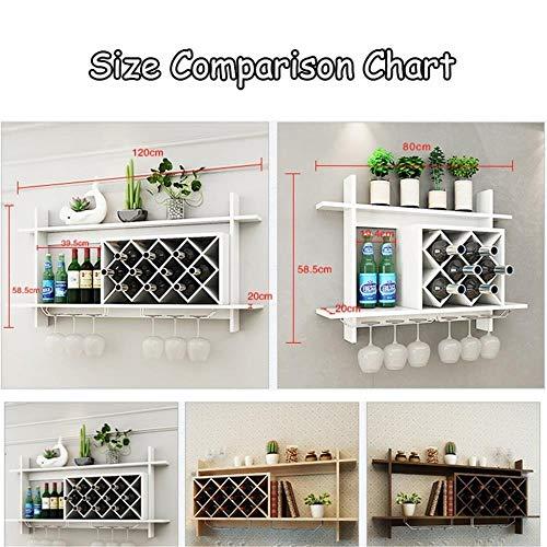 WINEBOT Home Bar meubels hangende wijnrek hout MDF kabinet creatieve grid hangende wijnflessenhouder groot wijnglas rek Goblet Stemware Racks L100*H58*D20cm bruin