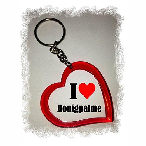 Druckerlebnis24 Herzschlüsselanhänger I Love Honigpalme, eine tolle Geschenkidee die von Herzen kommt| Geschenktipp: Weihnachten Jahrestag Geburtstag Lieblingsmensch