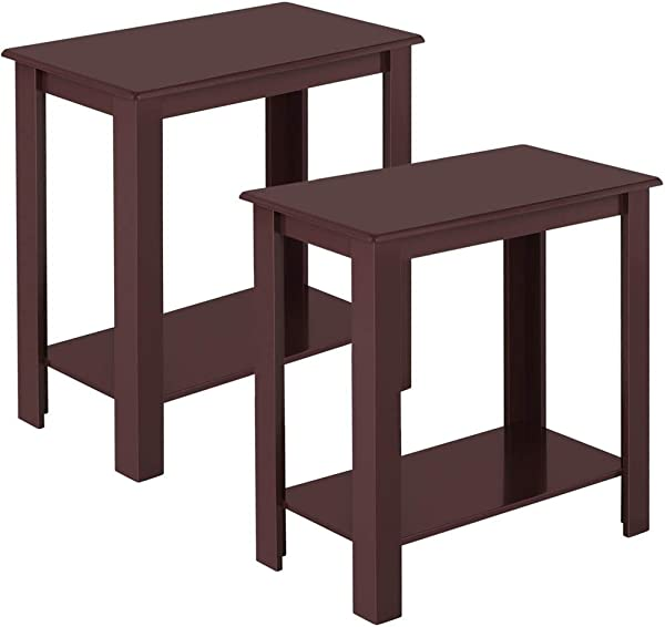 Topeakmart 2pcs Wood Chair Side End Table Lower Shelf Narrow Nightstand For Living Room Espresso