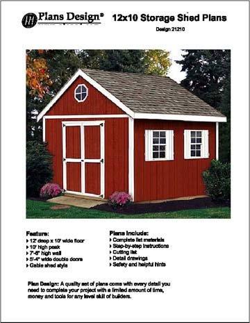 12' x 10'Gable Storage Shed Project Plans -Design #21210 by Plans Design