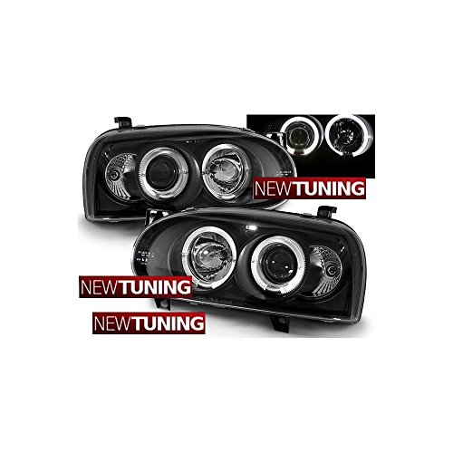 Volkswagen Faros delanteros VW Golf 3 09.91-08.97 Angel Eyes Negro