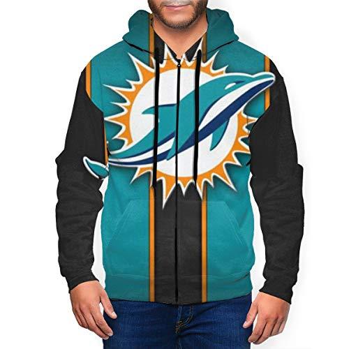 NFL Team Apparel Men's Miami Dolp-hins 3D Printed Zip Up Hoodies with Pockets Pullover Sweatshirt Jacket XL Black