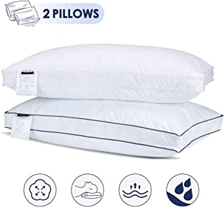 Gugusure Natural Goose Down Feather Pillow White Down Pillow Queen Size Pillow for Sleeping,Gusseted Bed Pillow Inserts with 100% Cotton Cover, Down Alternative Bed Pillow - 2 Pack.