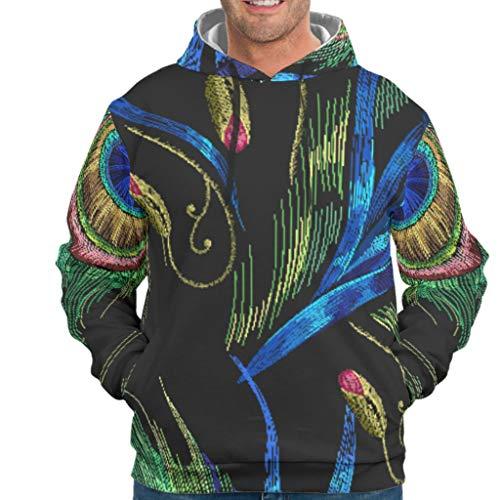 BTJC88 Negro Mandala Gráfico Hombres Sudadera con Capucha Personalizar/Mujer - Pluma de pavo real Cuello Redondo Suelto Comodidad Blusa, Hombre, blanco, L
